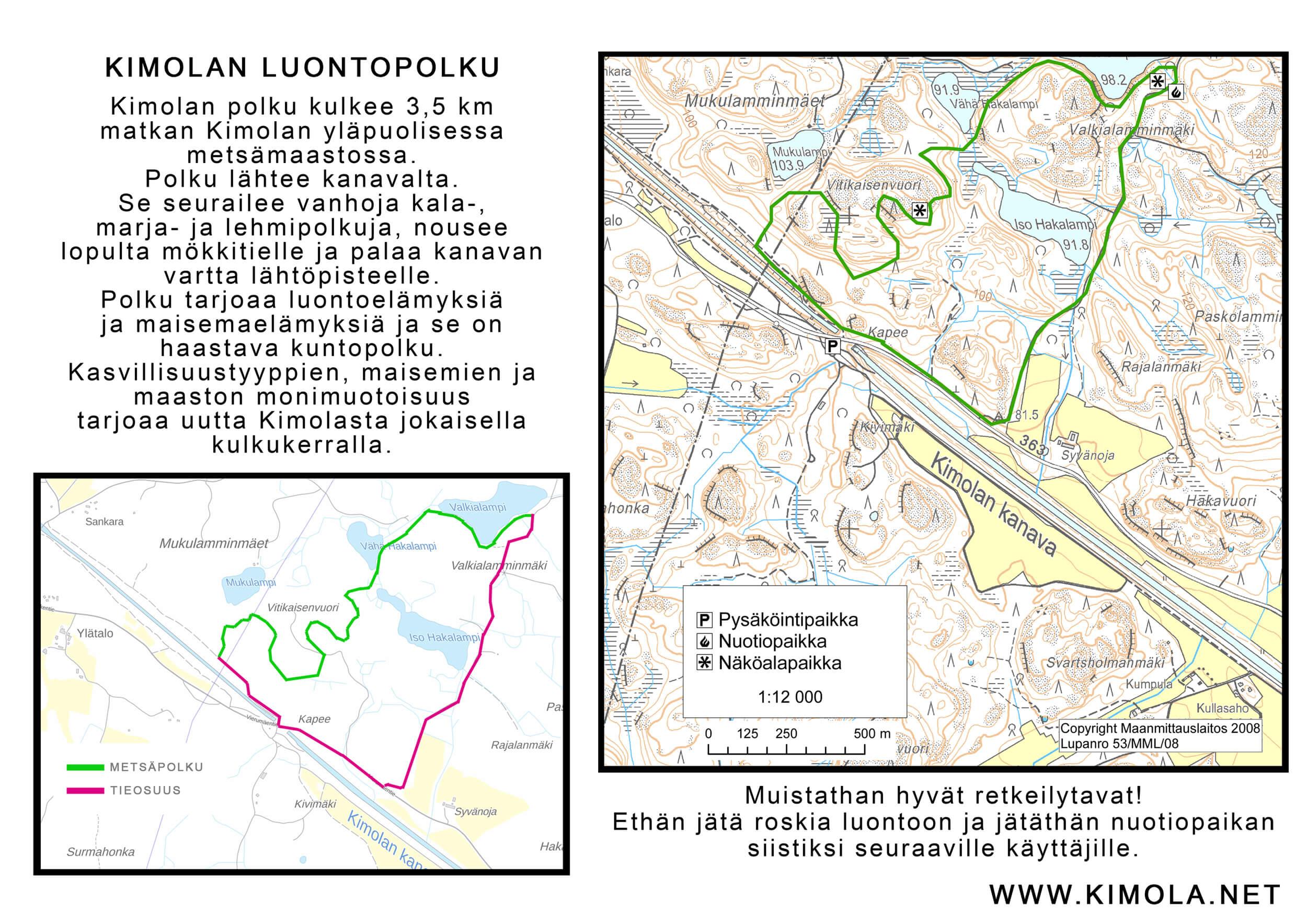 Kimolan luontopolku kartta